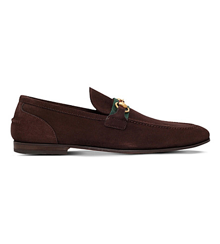 a260be976dd Gucci Elanor Horsebit Webbing-Trimmed Suede Loafers In Dark Brown ...