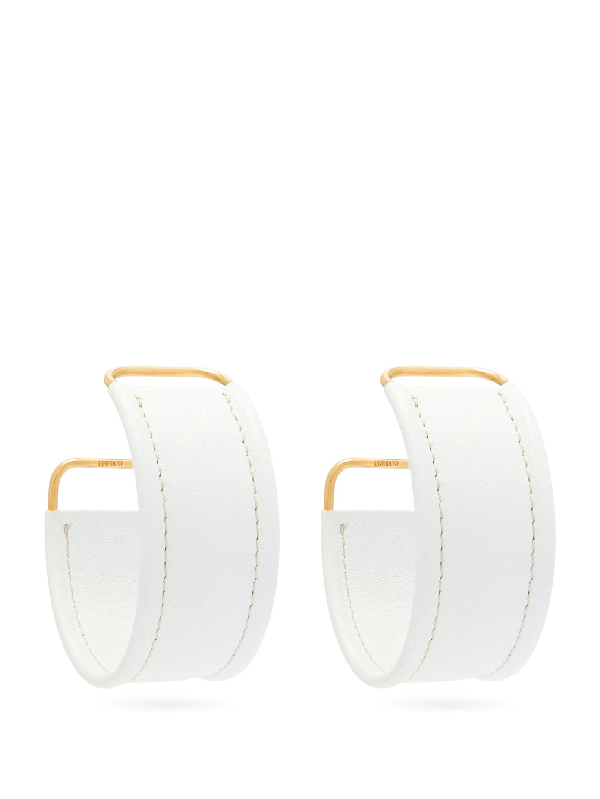 Jacquemus Les Fauteuils Big Hoop Leather Earrings In White