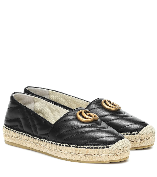 Gucci Logo-embellished Quilted Leather Espadrilles In Black