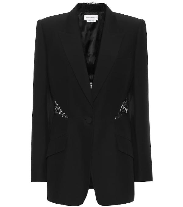 Alexander Mcqueen Leaf Viscose Blend Crepe & Lace Jacket In Black