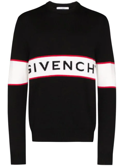 Givenchy Logo Intarsia Wool Pullover In Multicolor In 001 Black