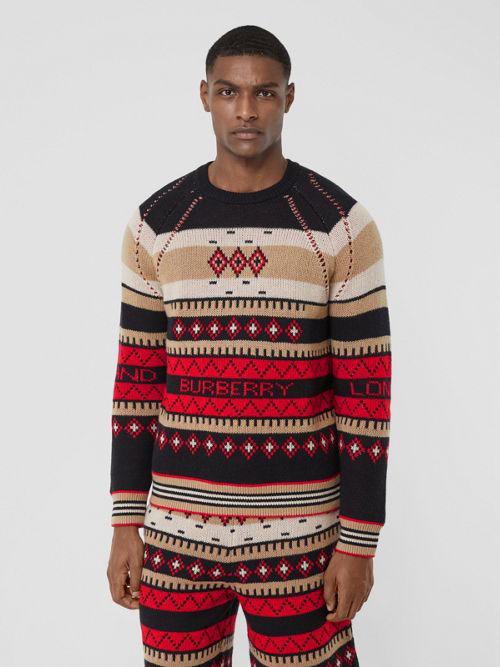 Burberry Icon Stripe Detail Fair Isle Cashmere Sweater In Black