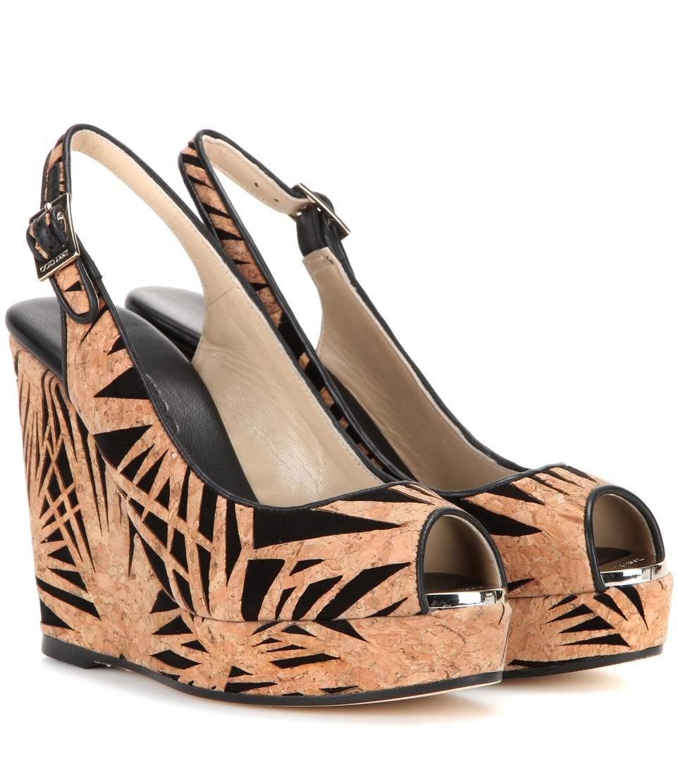 38d57e6438c5d Jimmy Choo Prova Laser-Cut Cork   Suede Wedge Sandals In Black-Beige ...