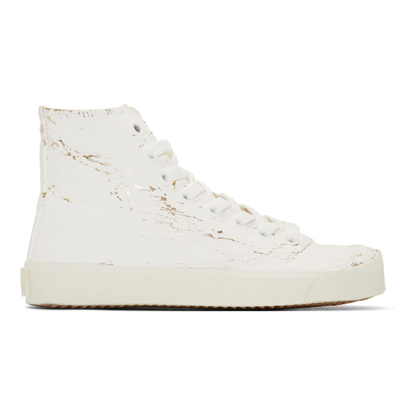 Maison Margiela Tabi Painted Metallic High-top Sneakers In H1800 Wh Go