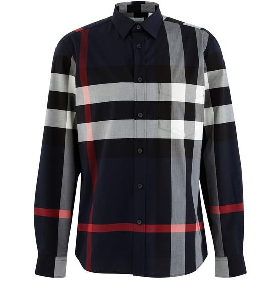 Burberry Somerton Nova-check Cotton-blend Poplin Shirt In Blue