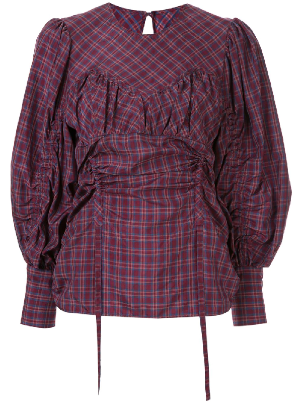 Muller Of Yoshiokubo Médina Check Blouse In Purple