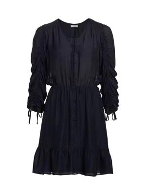Parker Fletcher Ruched Three-quarter Sleeve Ruffle Dress In Midnight