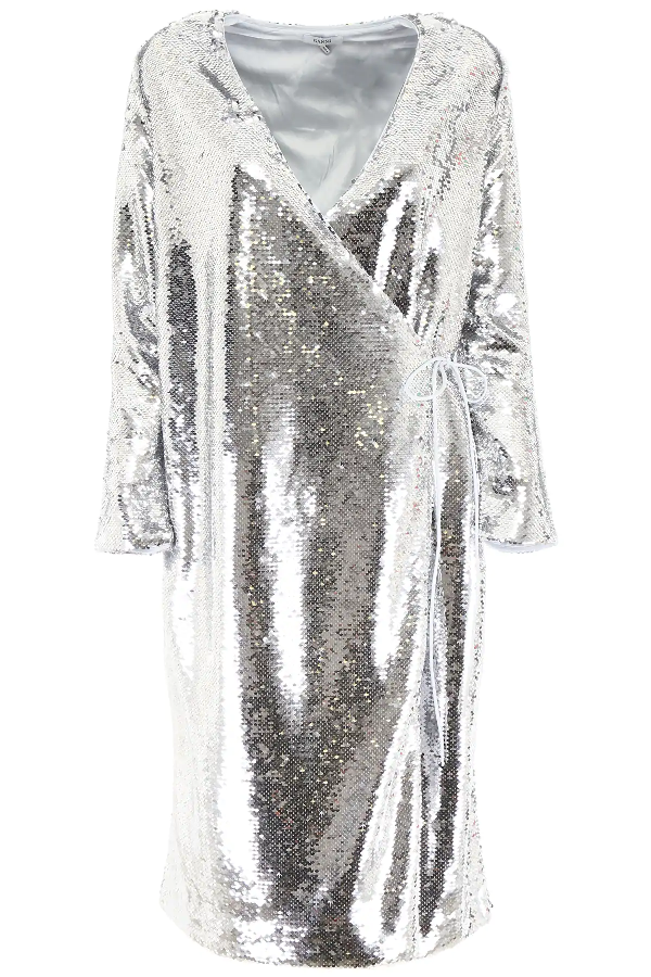 Ganni Sequins Wrap Dress In Silver