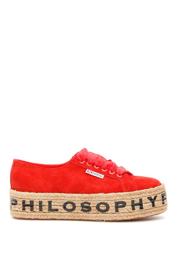 Philosophy Superga Platforms In Red,beige
