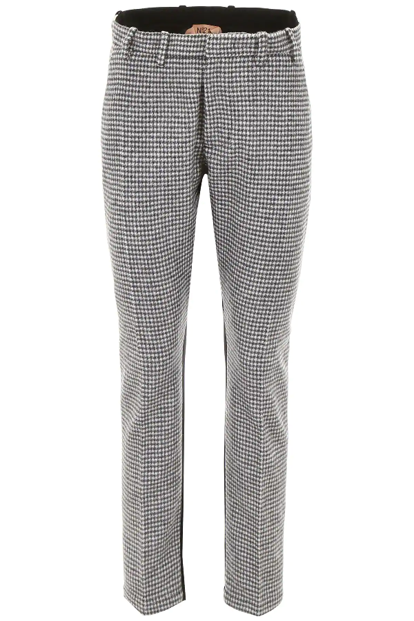 N°21 Bicolor Trousers In White,grey,black