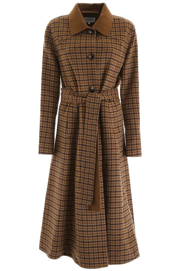 Nanushka Sira Checked Wool And Silk Coat In Brown
