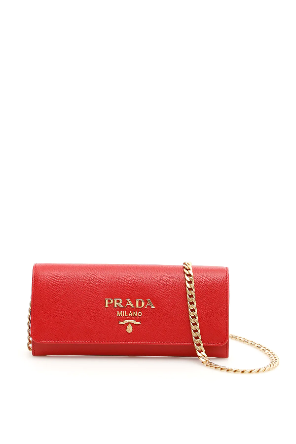Prada Saffiano Clutch With Strap In Red