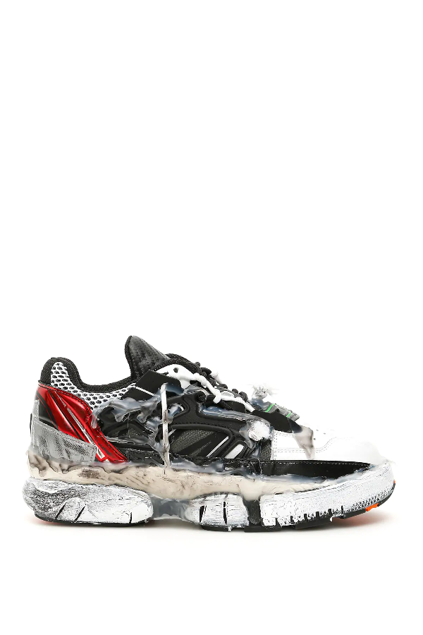Maison Margiela Fusion Low-top Sneakers In Black And White