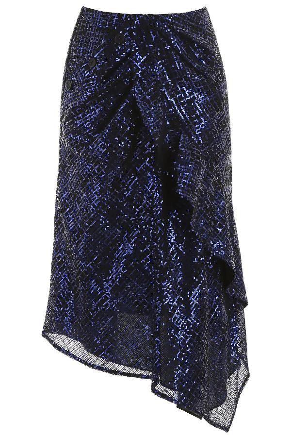Self-portrait Sequins-covered Skirt In Blue,black