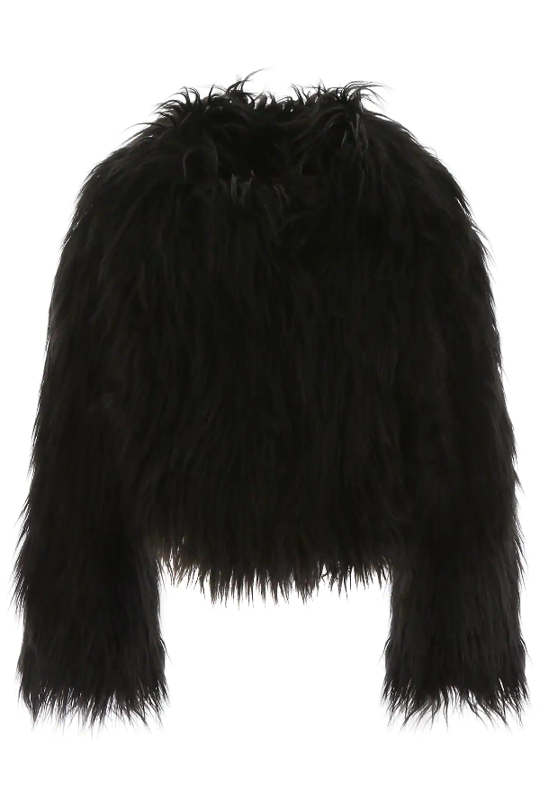 Philosophy Faux Fur Jacket In Black