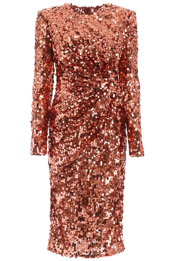 Dolce & Gabbana Sequined Stretch Tulle Midi Dress In Multicolored