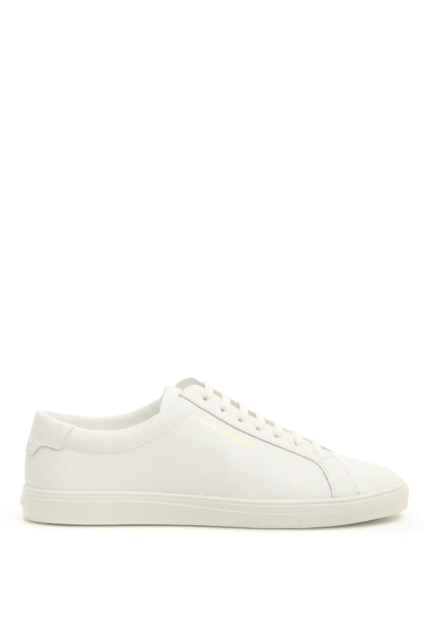 Saint Laurent Sl/01 Court Sneakers In Optic White Leather In 9030 White