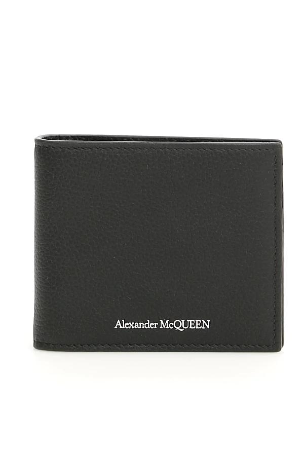 Alexander Mcqueen Logo Print Leather Clip Bifold Wallet In Black