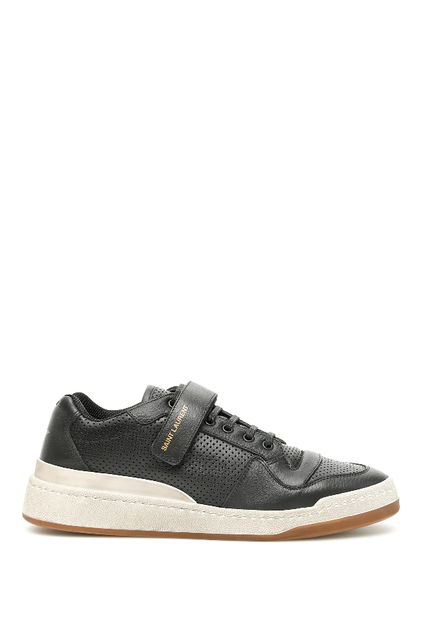 Saint Laurent Sl24 Perforated-leather Low-top Trainers In Black