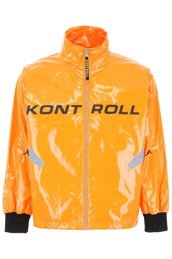Kappa Logo Windbreaker In Orange,grey,black