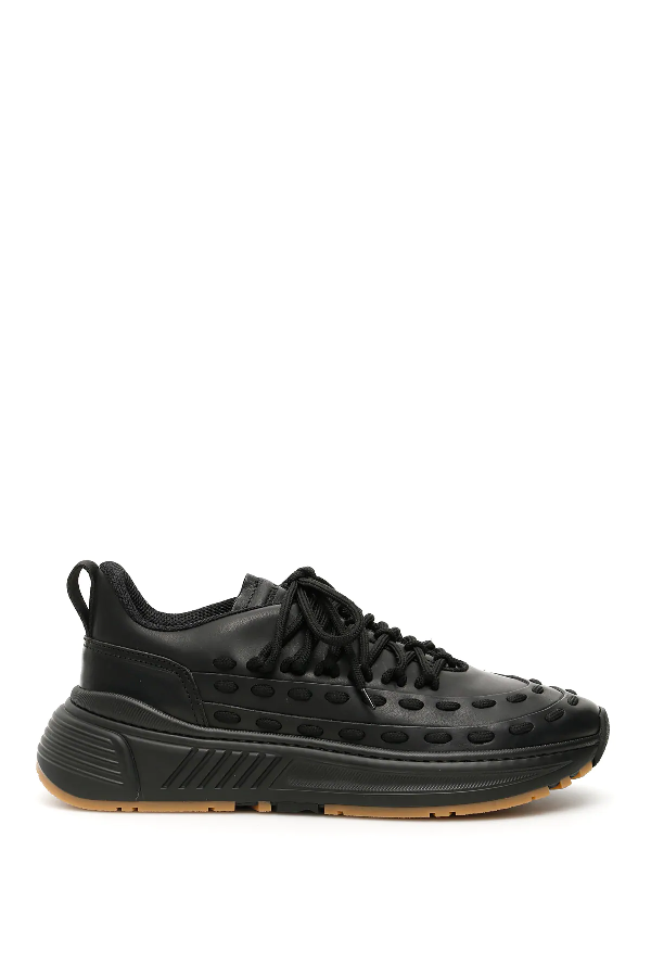 Bottega Veneta Men's Lace Speedster Leather Low-top Sneakers In Black