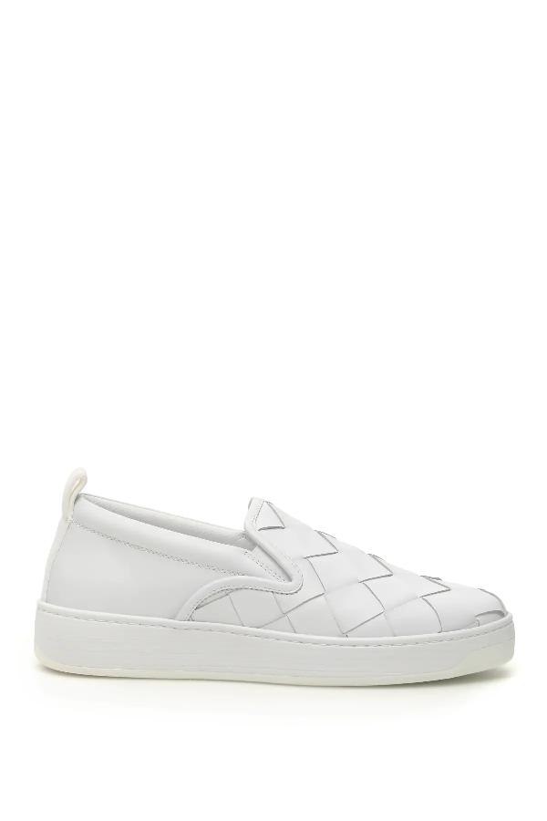 Bottega Veneta Dodger Intrecciato Leather Slip-on Sneakers In 9122-optwht