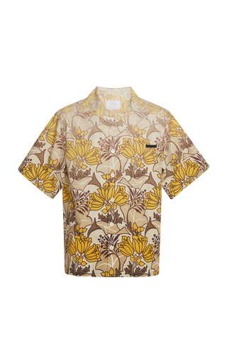 Prada Tropical Floral Print Short Sleeves Shirt In F0241 Kaki