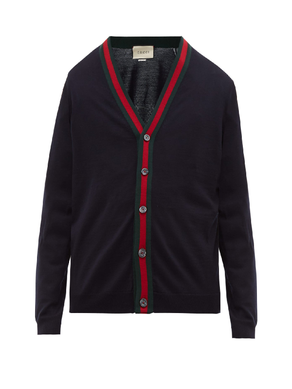 Gucci Web-striped Ribbed-knit Wool Cardigan In Blue