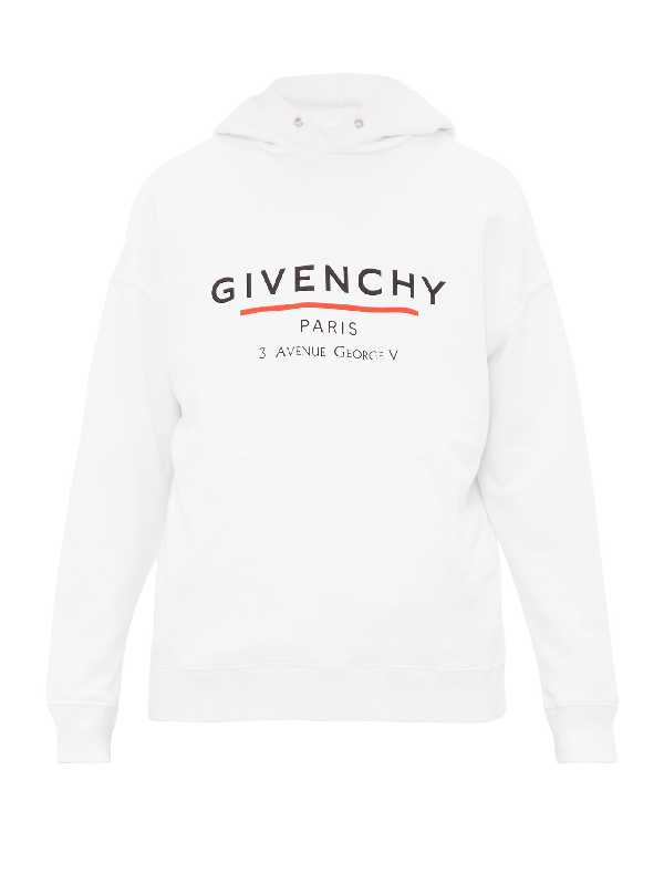 Givenchy Logo-print Loopback Cotton-jersey Hoodie In White