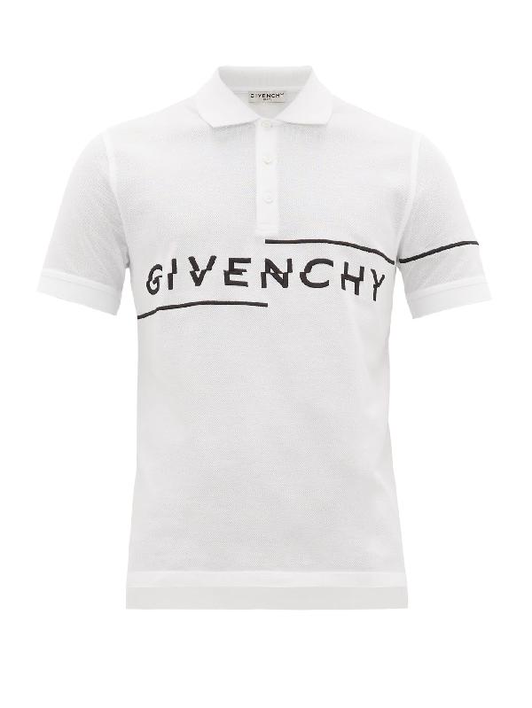 Givenchy White Logo-embroidered PiquÉ-cotton Polo Shirt