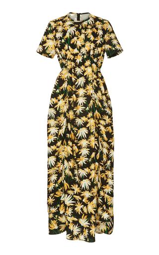 Loewe Daisy Print Gathered Cotton Midi Dress In Yellow