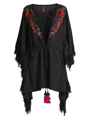 Amoressa By Miraclesuit Camille Indochine Embroidered Beach Wrap In Black Multi