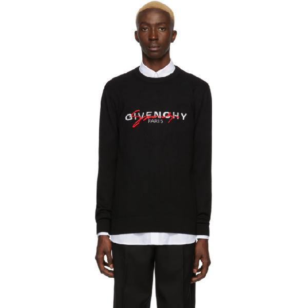 Givenchy Multicoloured Signature Crew Neck Sweater In 001 Black