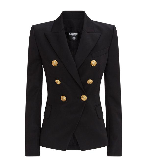 Balmain Black Wool Classic Double-breasted Blazer
