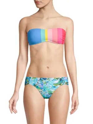 La Blanca Swim Stripe Bandeau Bikini Top In Blue Multi