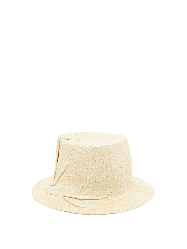 Reinhard Plank Hats Crushed Woven Bucket Hat In Beige