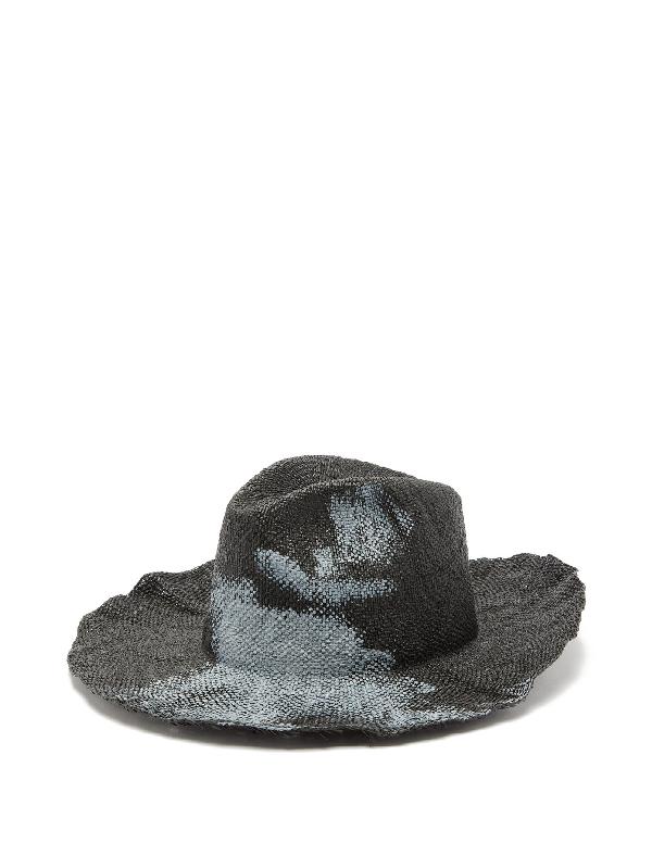 Reinhard Plank Hats Bonica Painted Straw Fedora In Black White