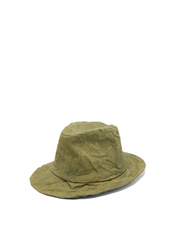 Reinhard Plank Hats Elia Canvas Fedora In Khaki
