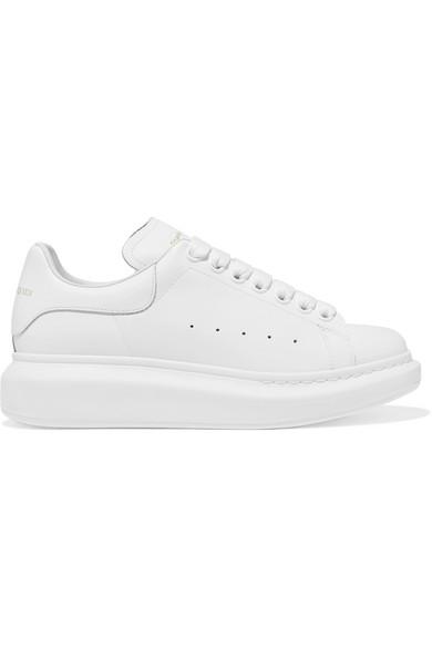 Alexander Mcqueen White Glitter Tab Oversized Sneakers