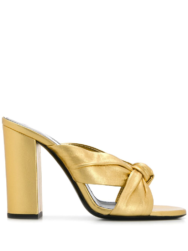 Saint Laurent 100mm Loulou Metallic Leather Sandals In Gold