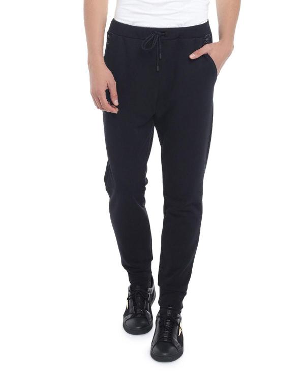 Fendi Men's Ff Net Cotton-blend Sweatpants In Black