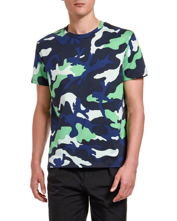 Valentino Men's Camo Pattern T-shirt In Green/blue