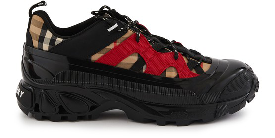 Burberry Rubber-trimmed Checked Canvas And Nylon Sneakers In Black