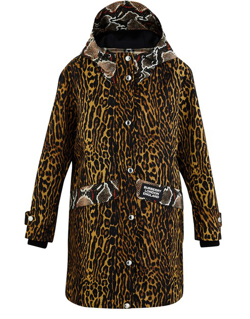 Burberry Cramond Leopard & Pythong Print Anorak Jacket In Honey