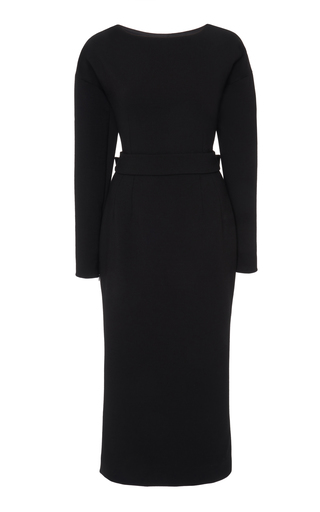 Dolce & Gabbana Bow Back Long Sleeve Wool Blend Crepe Dress In Black