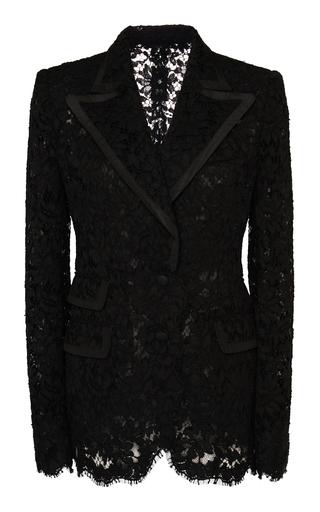 Dolce & Gabbana Faille-trimmed Lace Blazer In Black