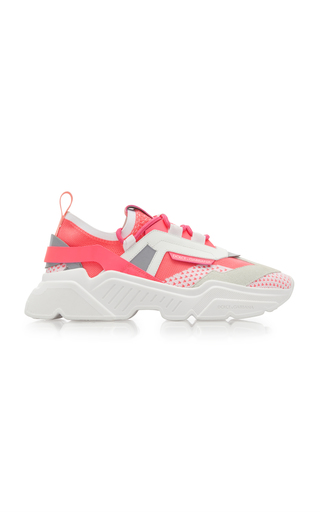 Dolce & Gabbana Leather And Suede-trimmed Stretch-knit Sneakers In Fuchsia/white