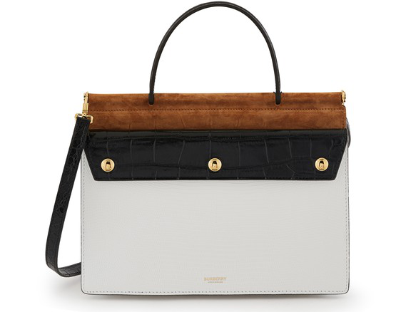 Burberry Small Deerskin Title Bag With Pocket Detail In White Multi