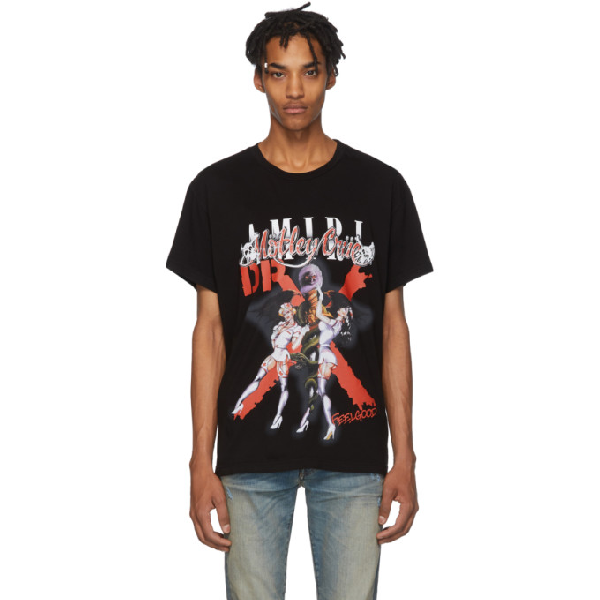 Amiri X Mötley Crüe 'dr Feel Good' Graphic Print T-shirt In Schwarz
