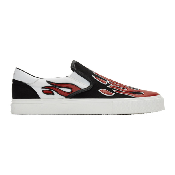 Amiri Black, White And Red Flame Embroidered Sneakers In Black/white